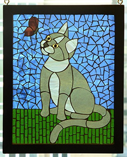 Grey Cat and Butterfly Glass-on-Glass Mosaic Suncatcher
