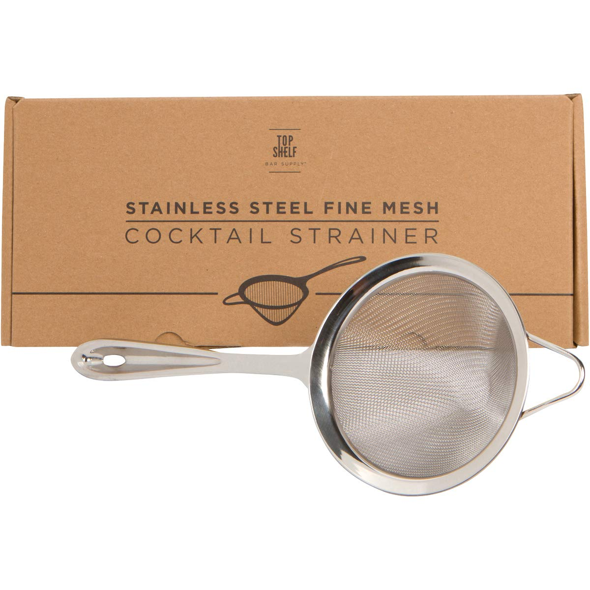 Fine Mesh Cocktail & Tea Strainer: Stainless Steel Conical Strainer by Top Shelf Bar Supply by Top Shelf Bar Supply