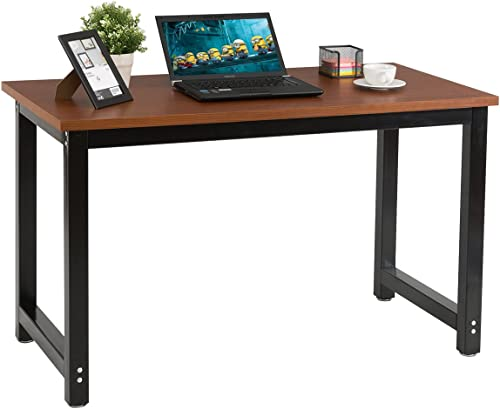 CHEFJOY Computer Desk PC Laptop Table Wood Workstation Study Home Office Furniture Brown and Black