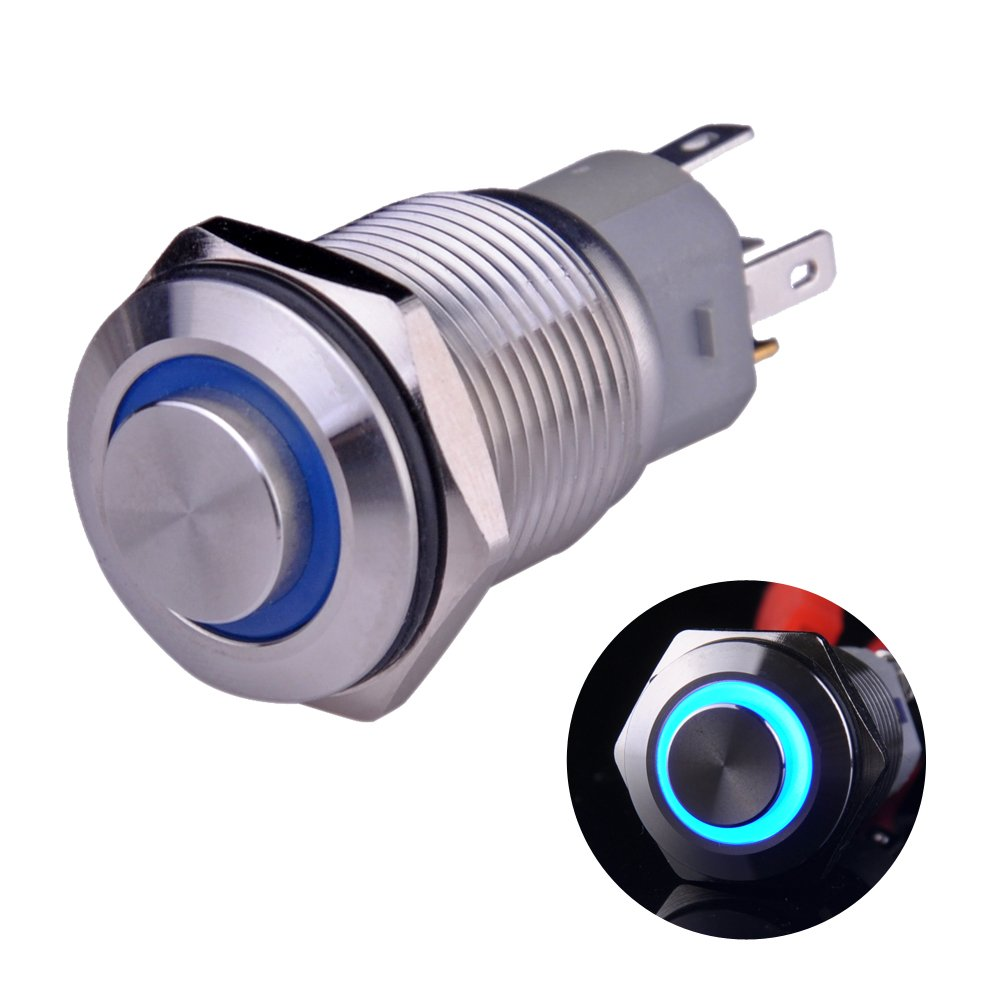Best Rated In Pushbutton Switches Helpful Customer Reviews Push On Off Switch Led Buttons Electrical Wiring Button Ulincos Latching U16f2 1no1nc Spdt Silver Stainless Steel Shell With Blue
