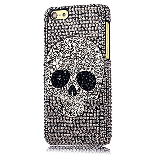 Sense-TE STENES iPod Touch (6th Generation) Case - Luxurious Crystal 3D Handmade Sparkle Glitter Diamond Rhinestone Clear Cover with Retro Bowknot Anti Dust Plug - Skull Flowers/Black