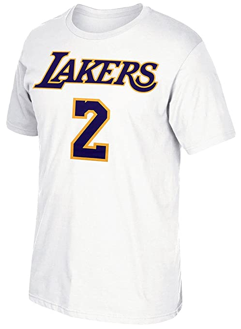 buy online 5baed 32885 adidas Lonzo Ball Los Angeles Lakers White Name and Number T-Shirt