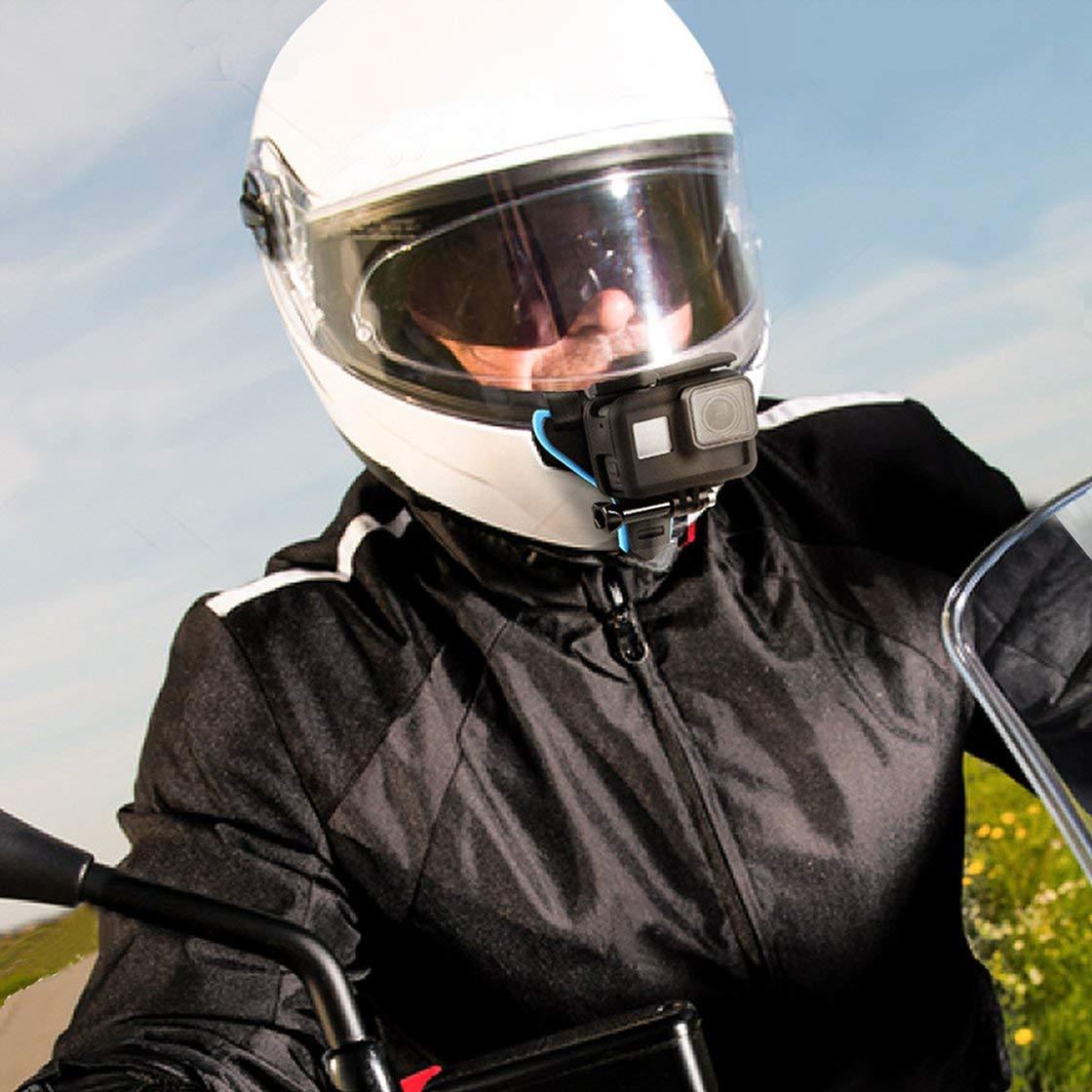 Gwendoll Casco de Motocicleta Adaptador de Montaje de ment/ón Soporte Frontal de Casco para GoPro Hero 6 5 4 3 Accesorios de c/ámara de acci/ón de sesi/ón