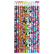 TY Beanie Boos Number 2 Lead Pencils, 7.5 X 0.5-Inch, Pack of 12, Assorted Character Designs, 815-6
