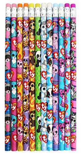 Ty Beanie Boos Number 2 Lead Pencils, 7.5 x 0.5 Inches, Pack of 12, Assorted Character Designs -