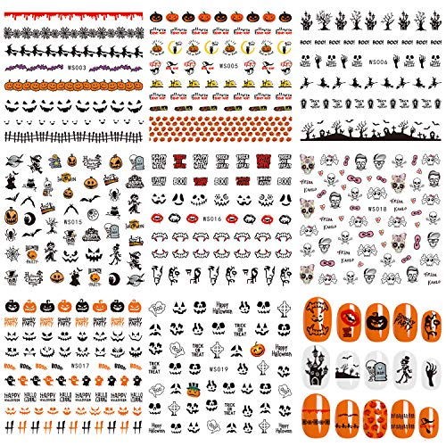 Whaline 8 Sheets Halloween Nail Art Self-Adhesive Stickers Decals for Women Girls Kids Manicure DIY or Nail Salon -