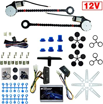 Universal Electric Power Window Lift Regulator Conversion Kit with Switches Hardware for SUV Truck Van Car 2 Door