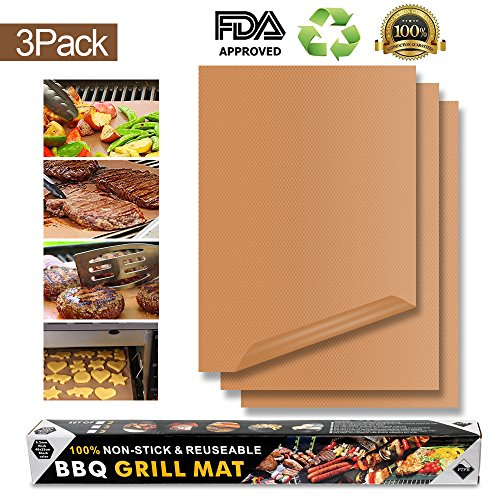 ONSON Copper Grill Mats,Set of 3 Non Stick BBQ Magic Grill Mats-Reusable,and Easy to Clean-Suitable for Works on...
