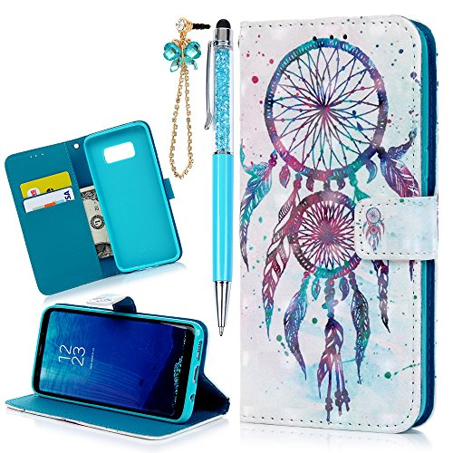 MOLLYCOOCLE Galaxy S8 Case, 3D Relief Pattern Wallet Case PU Leather Soft TPU Inner Bumper Protective Cover for Samsung Galaxy S8 with Pen & Dust Plug - Blue Feather Dream Catcher