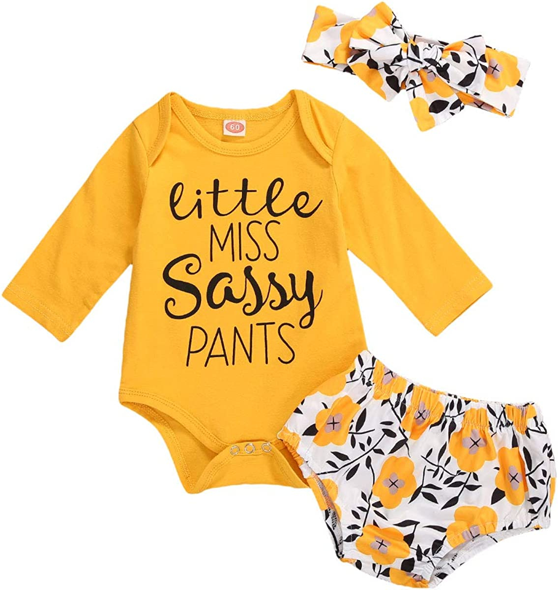 Newborn Infant Baby Girl Clothes Set Long Sleeve Romper Jumpsuit Floral Ruffle Shorts Headband Playsuit Spring Outfits Set