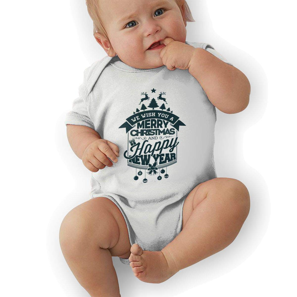 Infant Baby Boys Bodysuit Short-Sleeve Onesie Merry Christmas New Year Print Jumpsuit Autumn Pajamas