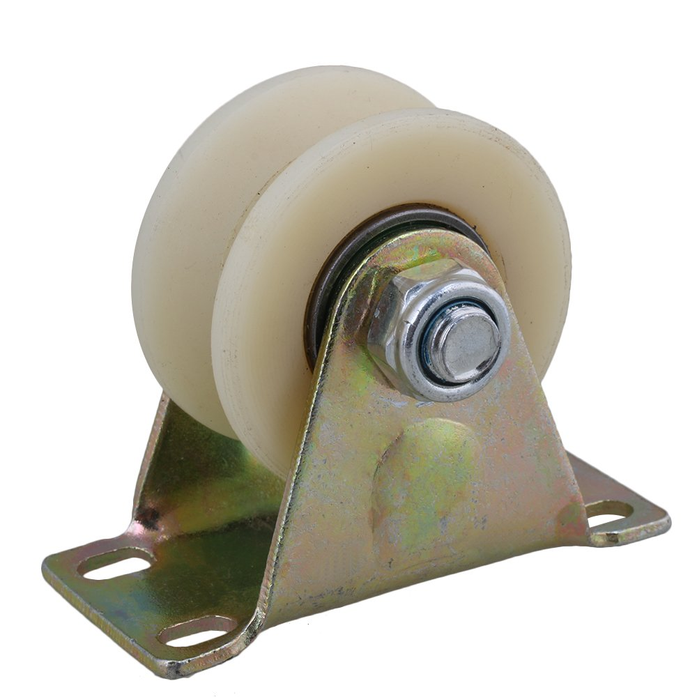 CNBTR 2.5'' Dia Beige 45# Steel Nylon Groove Track Roller Rigid Caster Wheel for Industrial Machines Carts 200KG