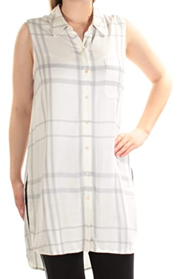 2146431019e42a TWO by Vince Camuto Womens Sleeveless Tranquil Plaid One-Pocket Long Tunic  at Amazon Women's Clothing store: