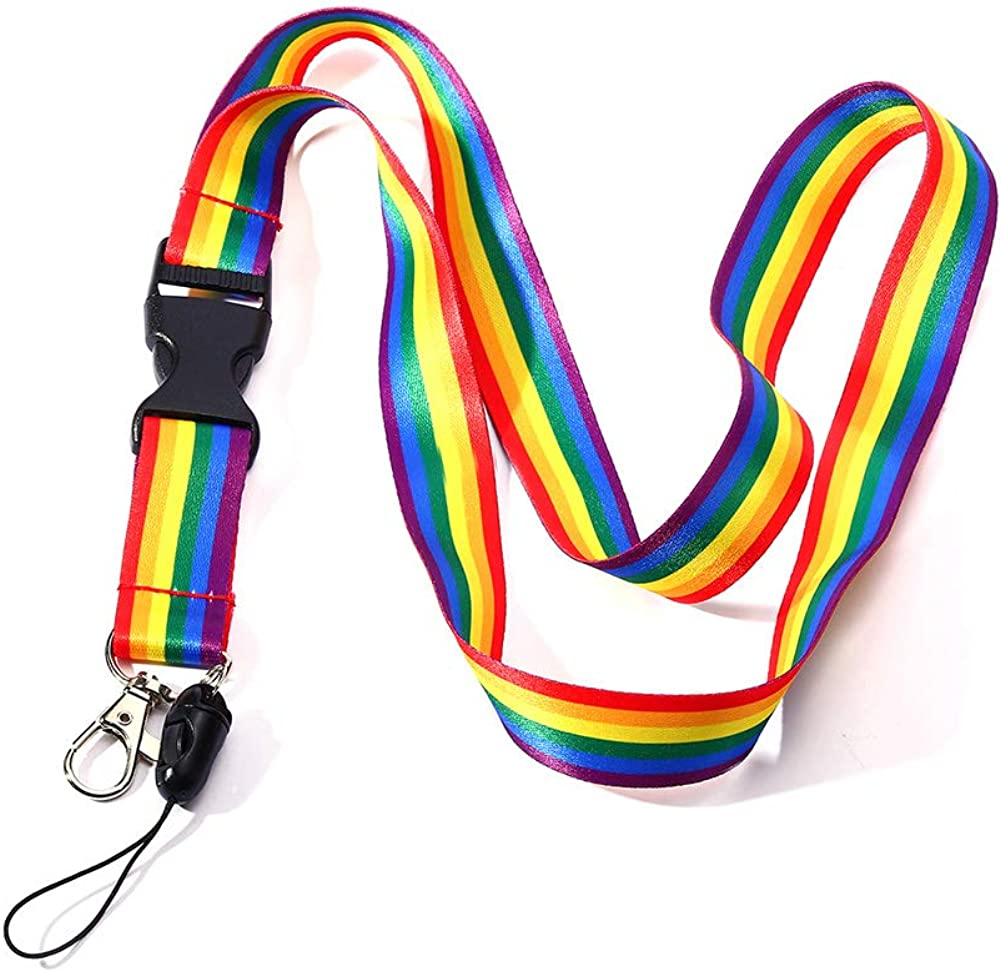 Gay Pride Rainbow Heart Embroidered Key Chain Key Ring Fob