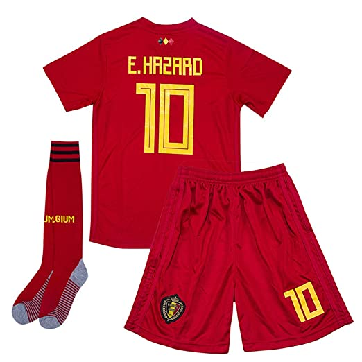 34403d1865e Image Unavailable. Image not available for. Color: Hazard #10 Belgium 2018  World Cup Home Kids Soccer Jersey ...