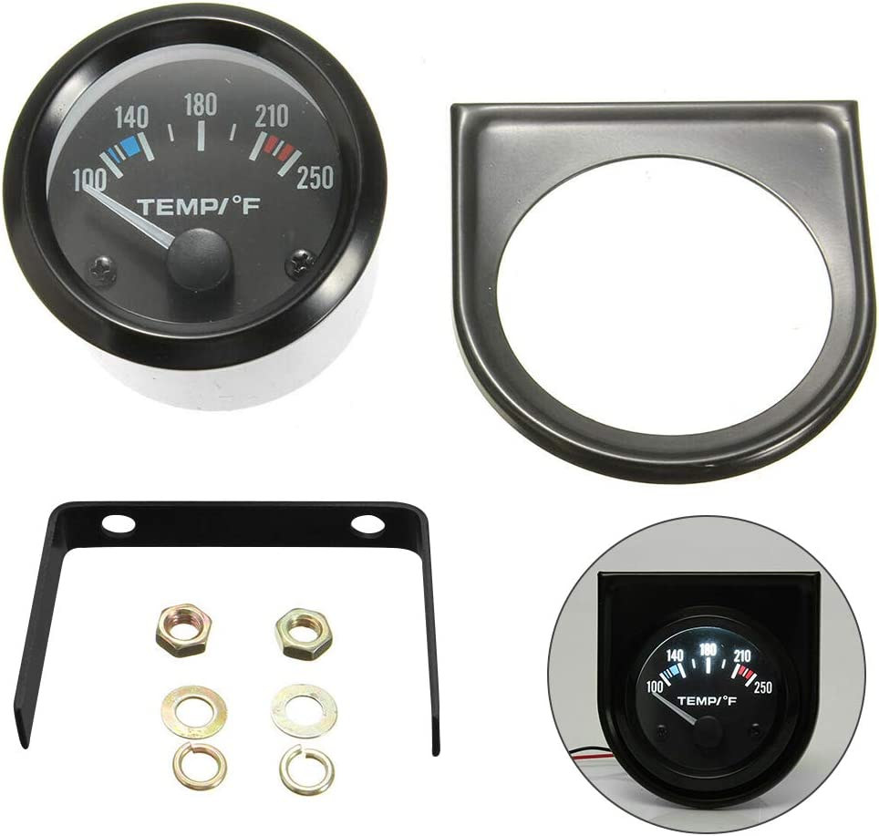 Luixxuer Universal Electric Water Temperature Gauge Temp Meter with Backlight for Vehicles 52mm 100-250/°F
