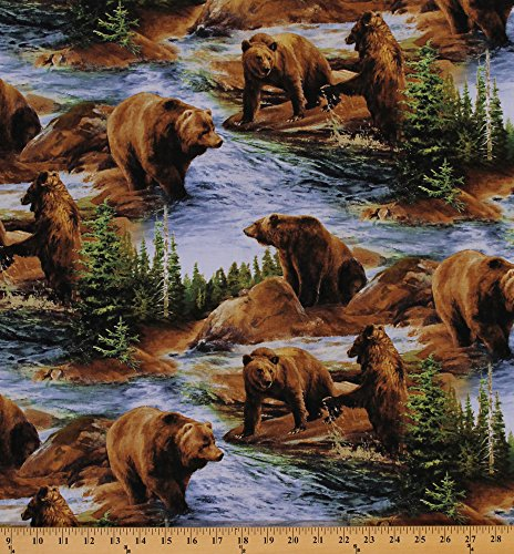 Cotton Brown Grizzly Bears Grizzlies Scenic Nature Wildlife Forest Animals Not To Be Trifled With Cotton Fabric Print by the Yard (62418-A620715)