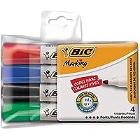 Pincel Marcador BIC Marking, Ponta Redonda, 4 Cores, 4 unidades