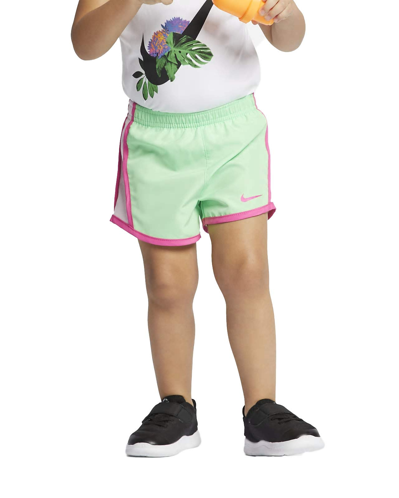 Nike Girl`s Dri-FIT Running Tempo Shorts (Aphid Green(267358-F1K)/Pink, 2T)
