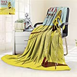 Fleece Blanket 300 GSM Anti-static Super Soft cute rock girl with guitar Warm Fuzzy Bed Blanket Couch Blanket(60''x 50'')