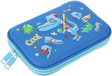 Silverone - Estuche para lápices de dibujo animado (goma EVA, gran capacidad), color azul talla única: Amazon.es: Oficina y papelería