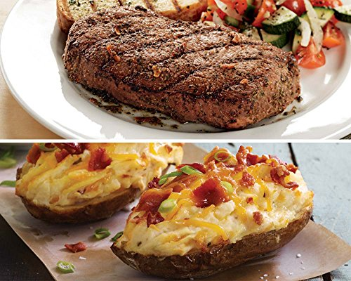 Kansas City Steaks 8 (5oz.) Top Sirloin and 8 (5oz) Cheddar Bacon Twice Baked Potatoes (Steak Baked Potato)