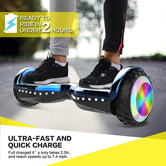 UL2272 Certified City Cruiser Hoverboard Dual Motors Electric Self Balancing Scooter with Built-in Speaker and LED Lights
