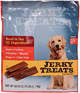 Jerky Treats Tender Beef Strips Dog Snacks 15 Vitamin& Mineral& Omega 3 Made in USA, 60 oz, New Packaging (1 Pack)