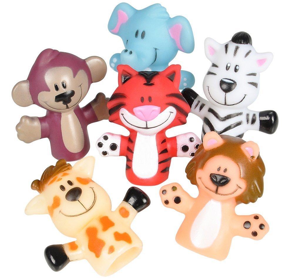 Rhode Island Novelty Zoo Animal Finger Puppets 1-Dozen (2 Pack)
