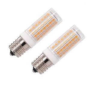 E17 LED, Dimmable E17 Led Bulb, 8W 75W Equivalent,850LM, 110V 120V 130V,Intermediate Base, for Ceiling Fan, Microwave Oven Lighting,2-Pack (E17-Warm White)