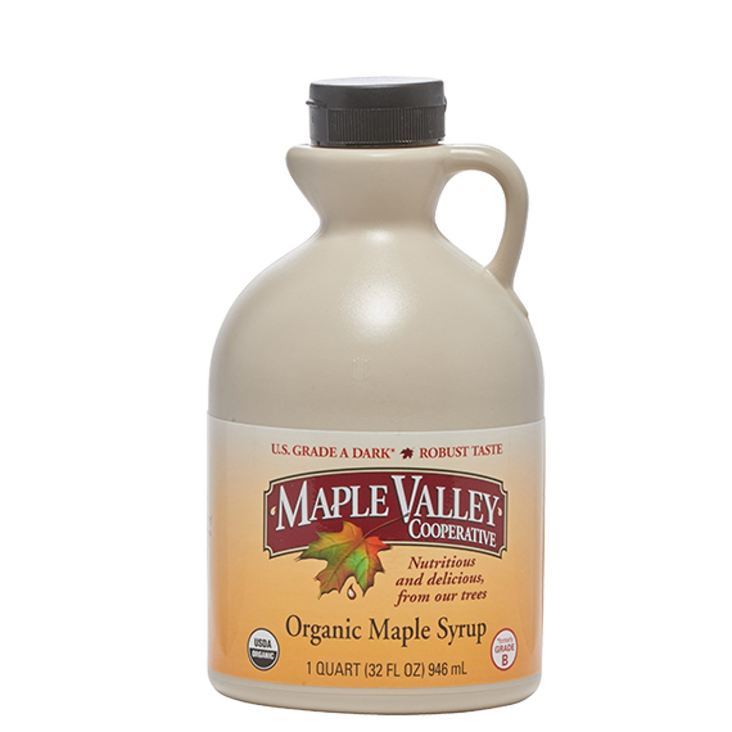 Maple Valley Pure Organic Maple Syrup 32 Oz. Grade A Dark Robust Maple Syrup *Formerly Grade B* in Bpa-free Plastic Jug