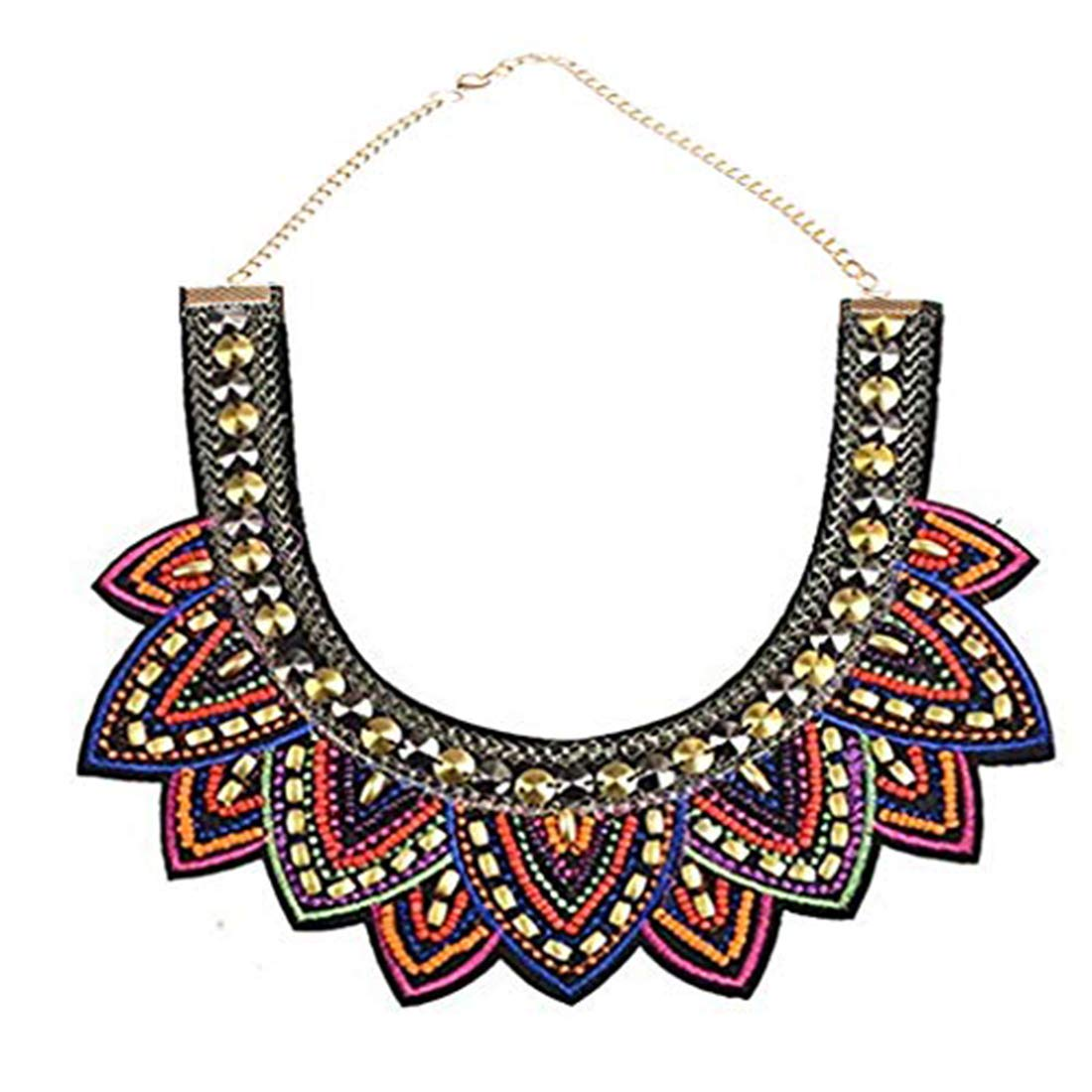 SUMAJU Collars Statement Necklace, Miraculous Garden Womens Vintage Fabric Colorful Bohemian Acrylic Beads Choker Necklace Jewelry ettlH126K02hyyp