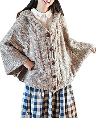 Futurino Women's Button Down Batwing Sleeve Knit Sweater Cape Poncho Cardigan