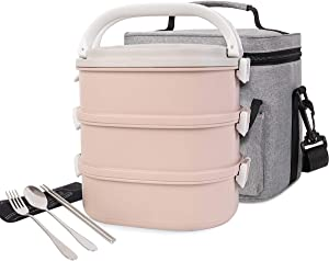 Lunch Box Stainless Steel 3-Tier Leak-Proof Stackable Square Bento boxes with Insulated Lunch Bag Spoon and Fork Set