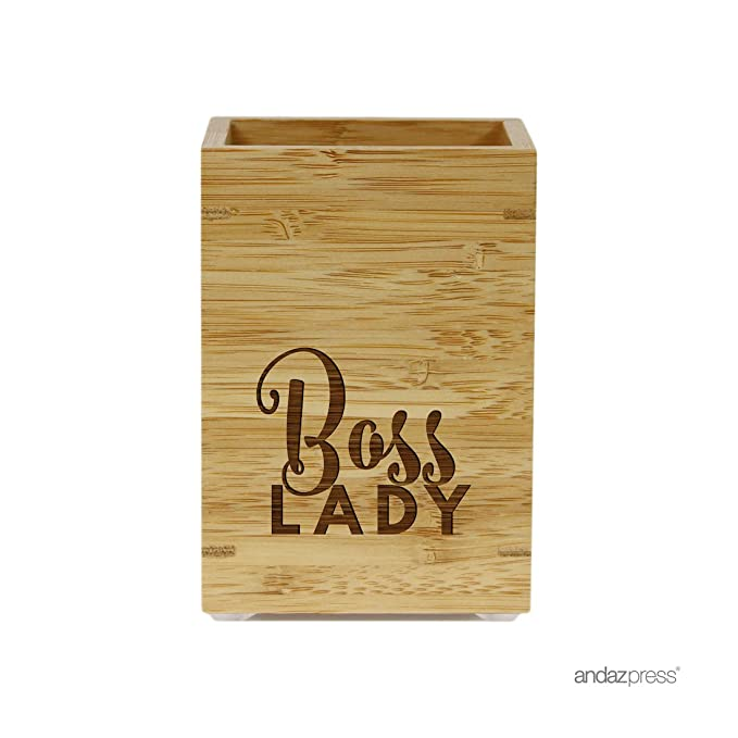 Andaz Press Engraved Office Pen Stand Holder Gift, Boss Lady, 1-Pack, Bamboo Wooden Mother's Day Grandma Nana Gifts