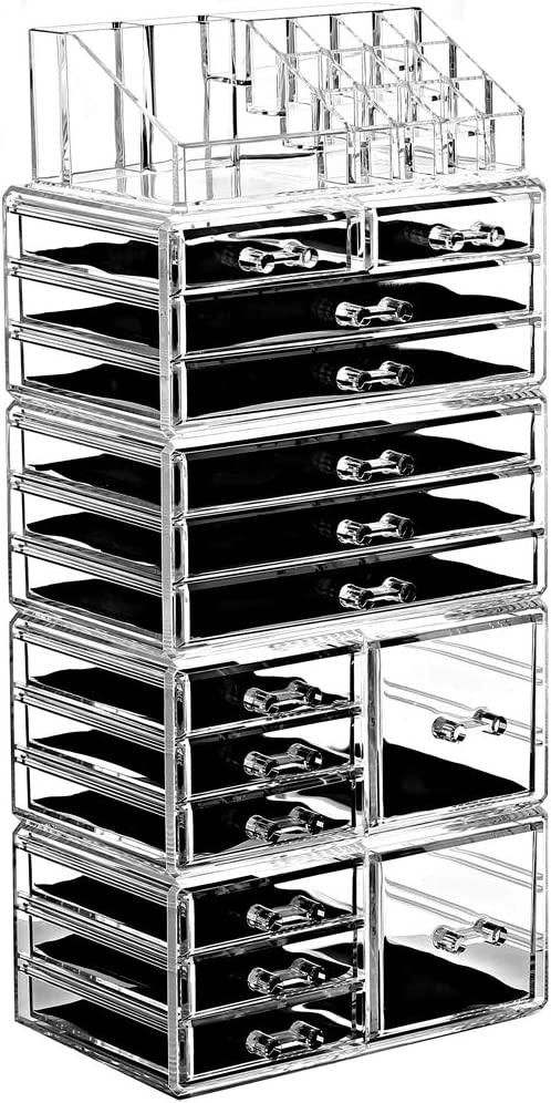 Amazon Com Ikee Design Acrylic Jewelry Makeup Organizer Drawer Shelf 5 Pieces Set Cosmetic Jewelry Organizer Makeup Holder Cosmetic Organizer For Vanity 8 Small 2 Square And 5 Large Drawers Home Kitchen