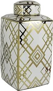 Sagebrook White/Gold Square Ceramic Jar 18 Inch