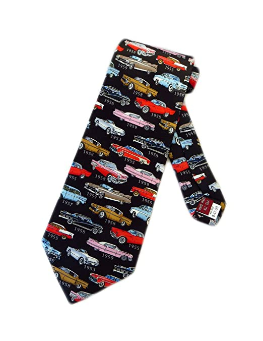 1950s Men's Clothing 1950s Classic Cars Necktie - Black - One Size Neck Tie Museum Artifacts Mens $29.95 AT vintagedancer.com