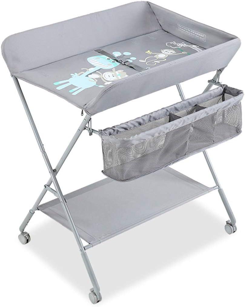 グレー 赤ちゃん テーブルステーションの交換 ポータブル チェンジャー幼児保管 車輪付き