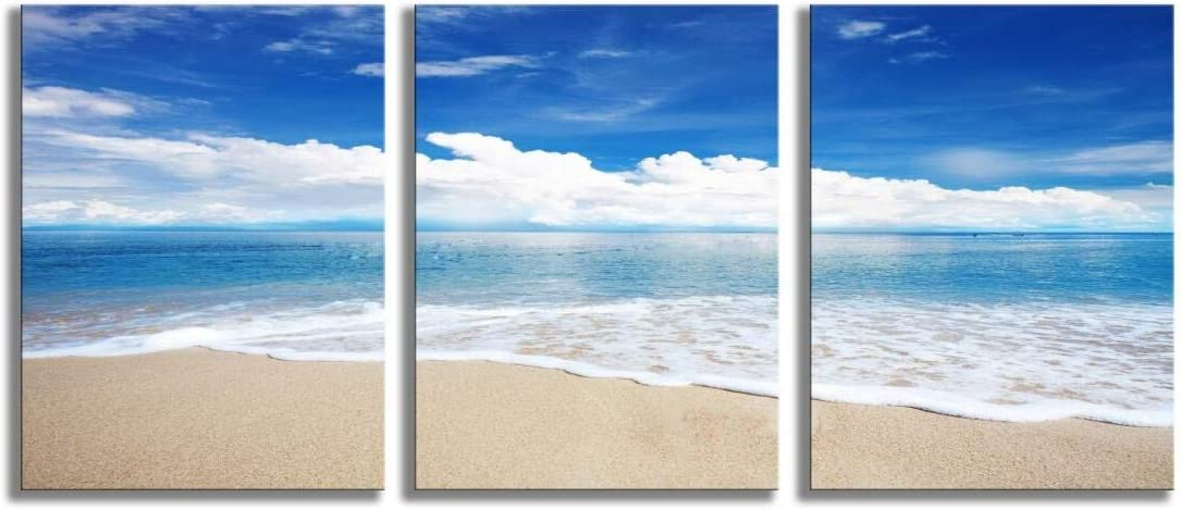 Beach Landscape Canvas Wall Art Modern Sea Waves Photo Artwork for Kitchen Decoration
