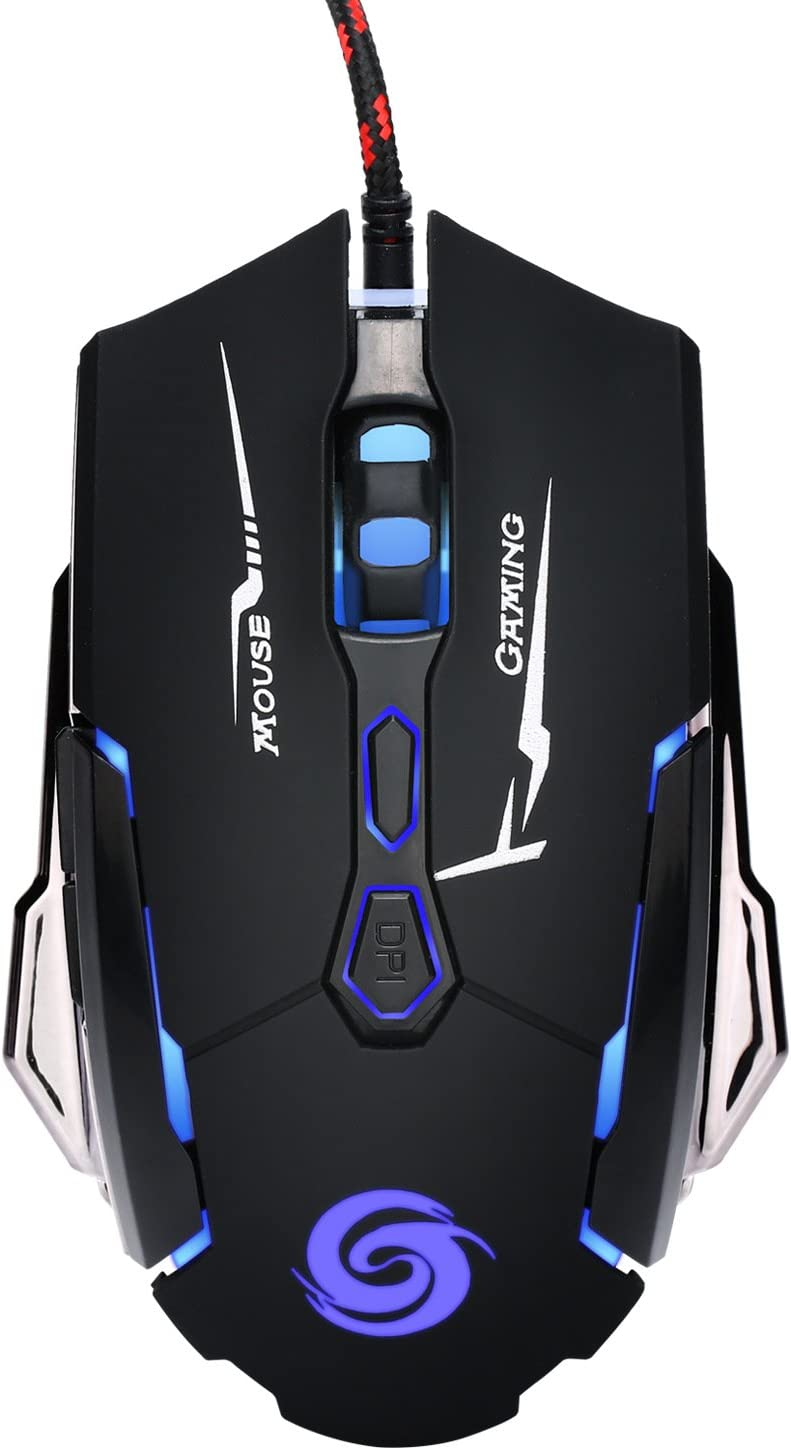 Semoic K1015 USB Wired Mouse 7 Buttons 4 Colors Led 4000 Dpi Adjustable Optical Gaming Mouse Gamer Professional Gaming Mouse Mice Wired Mause Black