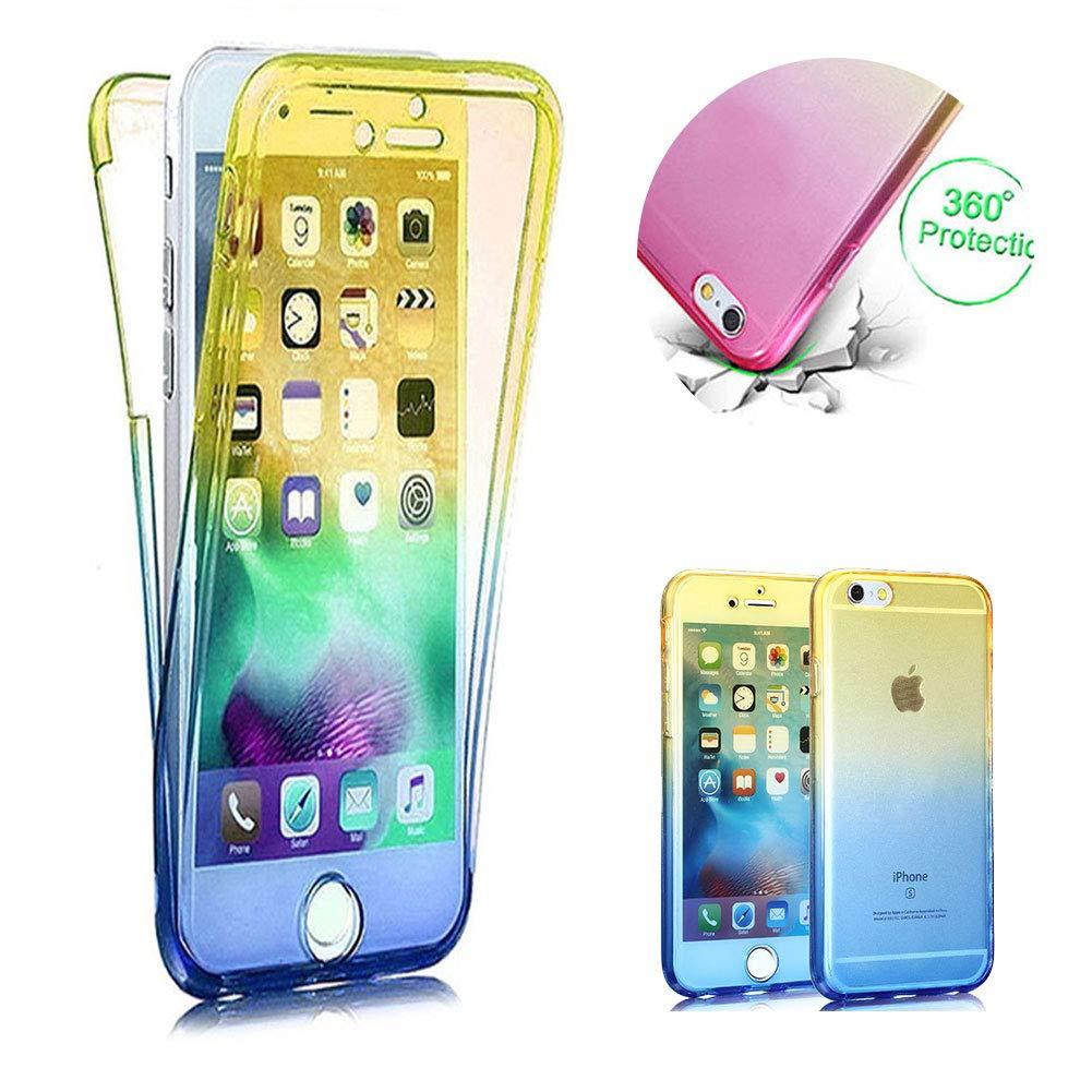 Moiky Rose + Jaune TPU Coque pour iPhone XR,2 en 1 Silicone Clair Coque pour iPhone XR, Élégant Créativité 360 Degré Housse Complète Avant et arrière Ultra-Mince Doux Gel Étui Coque
