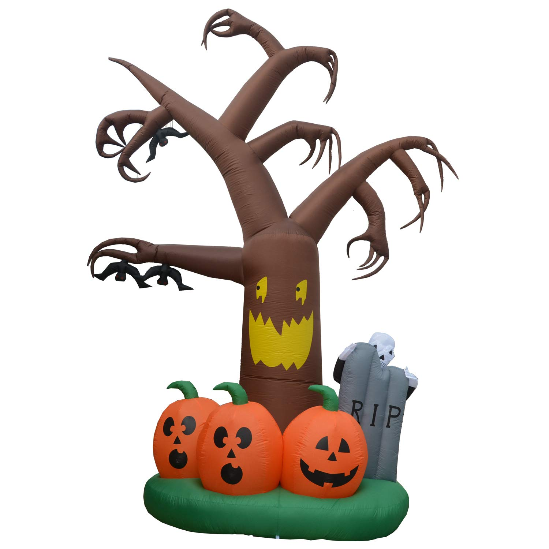 Tombstone Lighted Home Yard Garden Indoor Outdoor Decoration DIGIANT 12 Foot Halloween Inflatable Dead Tree Air Blown Spooky Tree Pumpkins Ghost