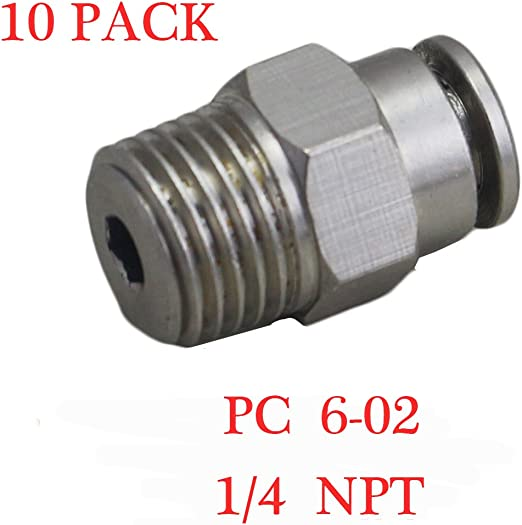 6mm 10 Pcs Male Straight Connector Tube OD 1//4 X NPT 1//8 PU Air Push in Fitting