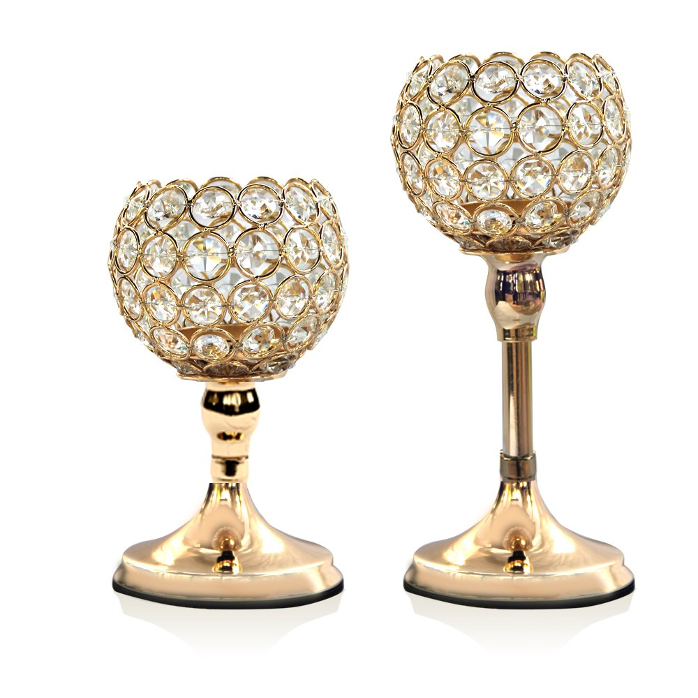 VINCIGANT Gold Crystal Candle Holders Set of 2 Modern Wedding Table Decorative Centerpieces/Anniversary Celebration House Home Dining Room Decor Gifts,8 10 inches Tall