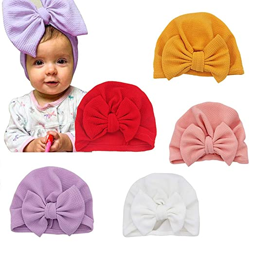 0e35f2d97 Newborn Baby Hospital Hat Soft Cotton Toddler Kids Girl Head Wrap with Big  Bow Cap