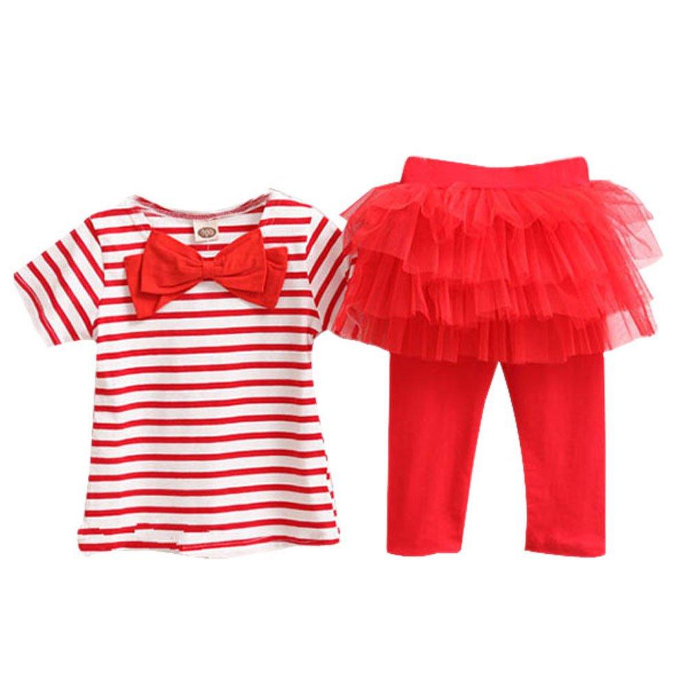 Comemall Kids Girl Stripe Tops+Tulle Tutu Skirt Legging Set