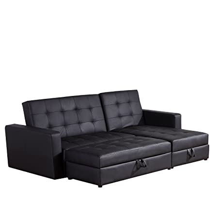 Homcom Deluxe Faux Leather Corner Sofa Bed Storage Sofabed Couch With  Ottoman New Black
