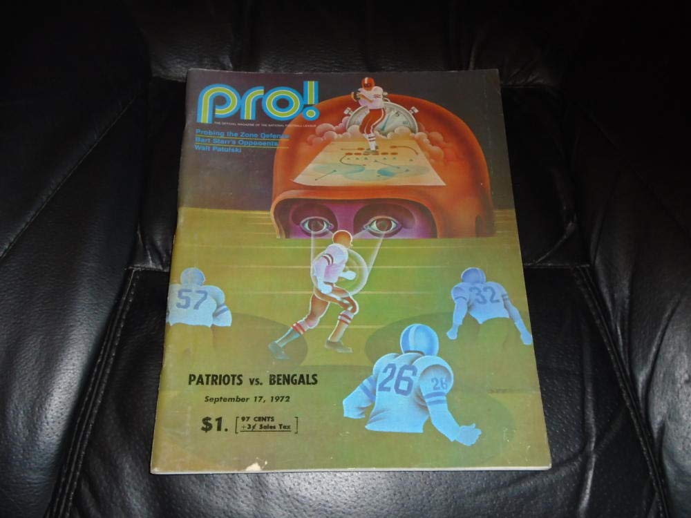 1972 CINCINNATI BENGALS AT NEW ENGLAND PATRIOTS NFL FOOTBALL PROGRAM