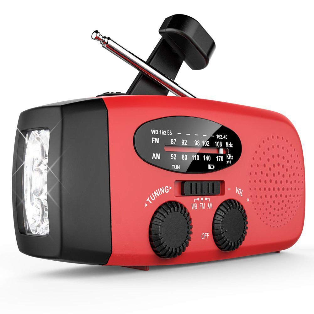 FidgetFidget LED Flashlight Protable Solar Radio Hand Crank Powered Phone Charger AM/FM Radio
